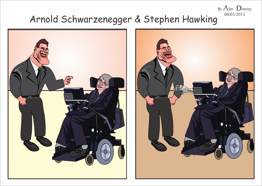 Cartoon with Caricatures of Stephen Hawking & Arnold Schwarzenegger