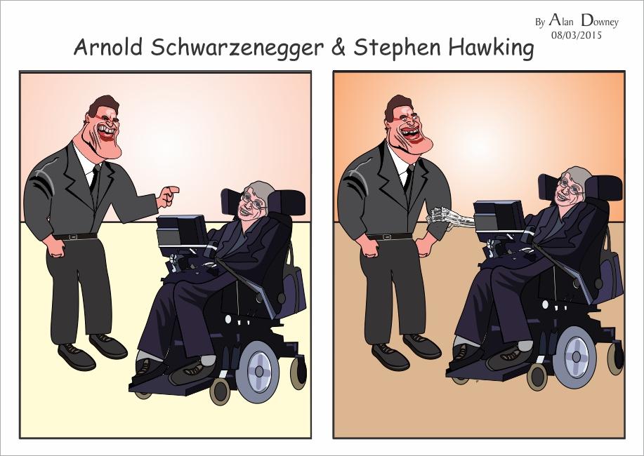 Cartoon with Caricatures of Stephen Hawking & Arnold Schwarzenegger